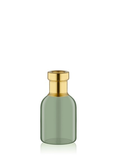 The Mia Cam Vazo Yeşil Gold Dekorlu 16*8 Cm Altın